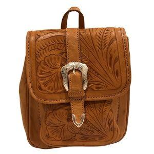 Vintage Inspired Carved Leather Boho Backpack
